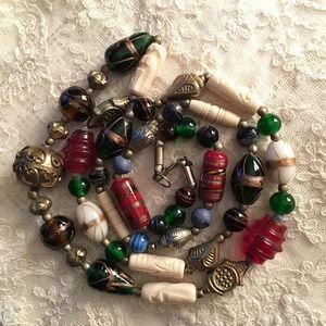 Berber Venetian Glass Wedding Cake Bead Necklace